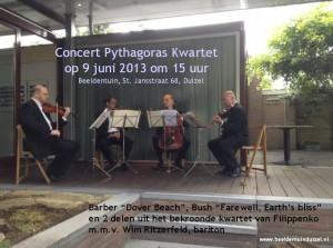 Flyer van het Pythagoras Kwartet concert op 9-6-2013 in de Beeldentuin Duizel