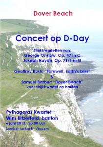 Flyer van concert Pythagoras Kwartet in Lambertuskerk Vessem, 6-6-2013
