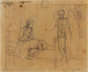 Der Tod und das Mädchen, tekening van Moritz von Schwind, goede vriend van Franz Schubert