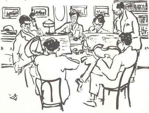 Berg en Schoenberg luisteren naar een kwartetuitvoering, tekening van Dolbin